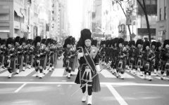 Members of Security Department play in NYPD Emerald Society Pipes and Drums Band