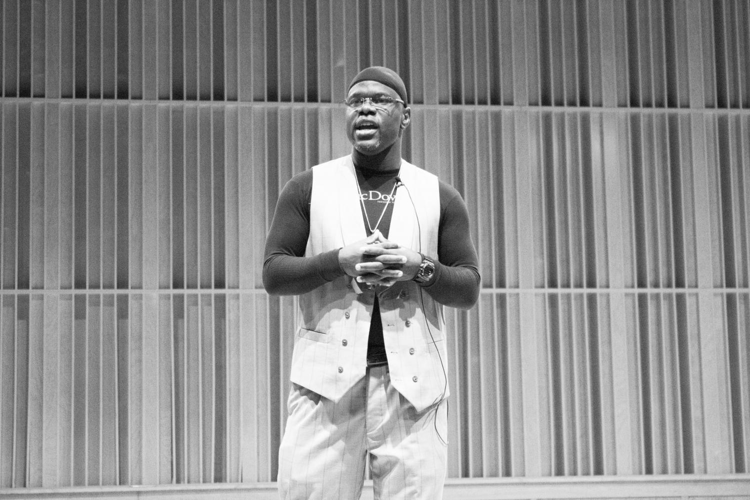 FREE TO SPEAK HIS MIND: Ian Manuel discusses his poetry and life experiences in prison with students and faculty in Recital Hall.