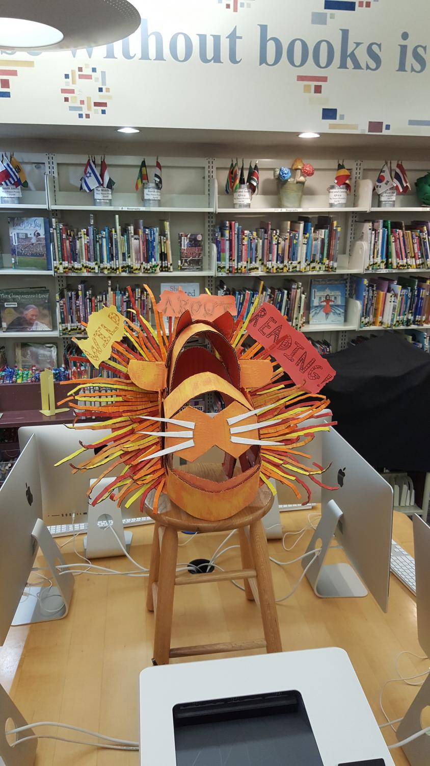 ROAR: Students' art project displayed at LD book fair.
