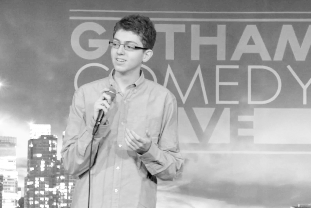 STANDING UP: Kahn performs at Gotham Comedy Club in New York City