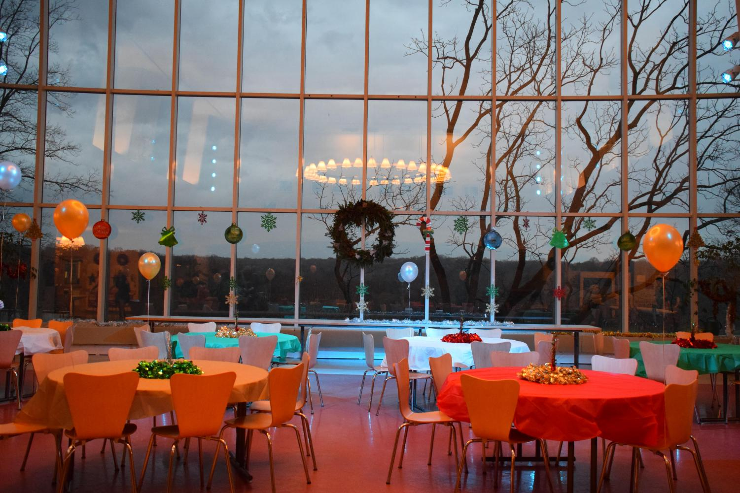 PARTY PLANNING: Fisher Dining Hall in advance of the evenings festivities