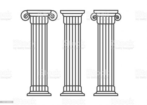 Greek and roman pillar. Outline vector pillar illustration. Architecture greek column icon